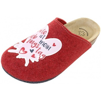 Schuhe Damen Pantoffel Weeger Hausschuhe Art. 49042 Motiv LiebTag rot