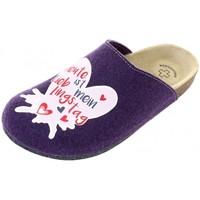 Schuhe Damen Pantoffel Weeger Hausschuhe Art. 49042 Motiv LiebTag viola
