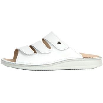 Schuhe Damen Pantoffel Finn Comfort Korfu Weiss Nappa Weiß