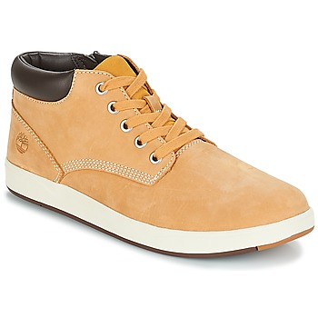 Schuhe Kinder Sneaker High Timberland Davis Square Leather Chk Braun / Rot multi wf sde