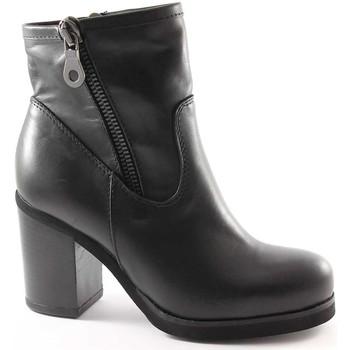 Low Boots Jhon Grace 1732X2 schwarze Schuhe Frau Stiefeletten Doppel-Reißverschluss