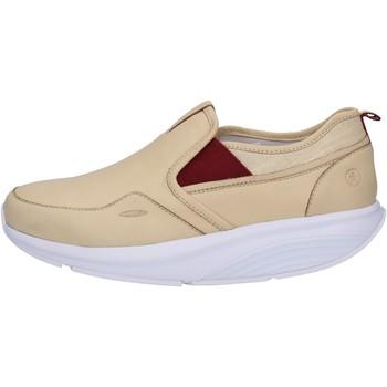 Schuhe Damen Sneaker Low Mbt slip on mokassins beige leder textil AC442 beige