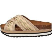 Schuhe Damen Pantoletten 5 Pro Ject sandalen beige textil gold AC586 beige