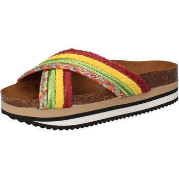 Schuhe Damen Pantoletten 5 Pro Ject sandalen grün textil gelb AC589 mehrfarben