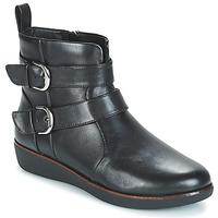 Schuhe Damen Boots FitFlop LAILA DOUBLE BUCKLE Schwarz