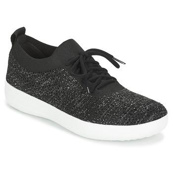 Schuhe Damen Sneaker Low FitFlop F SPORTY UBERKNIT SNEAKERS CRYSTAL Schwarz