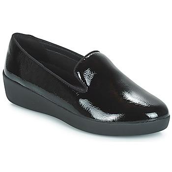 Schuhe Damen Slipper FitFlop AUDREY SMOKING SLIPPERS CRINKLE PATENT Schwarz
