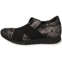 Schuhe Damen Sneaker Low Andia Fora sneakers silber textil schwarz leder AD326 schwarz