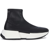 Schuhe Damen Sneaker High Mm6 Maison Margiela High Top Sneakers in Kunstleder Schwarz Schwarz