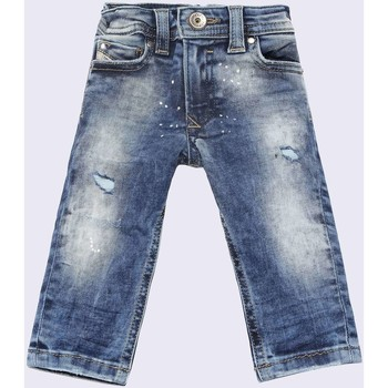 Kleidung Kinder Straight Leg Jeans Diesel SLEENKER-B 00K1MG JEANS junge DENIM MEDIUM BLUE DENIM MEDIUM BLUE