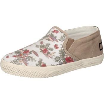 Schuhe Mädchen Slip on Date schuhe bambina D.A.T.E. (DATE) slip on weiß textil beige AD848 weiß