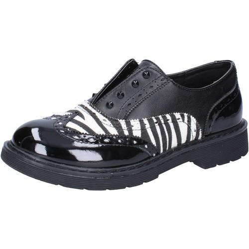 Schuhe Mädchen Sneaker Low Enrico Coveri elegante schwarz leder weiß lack AD964 schwarz