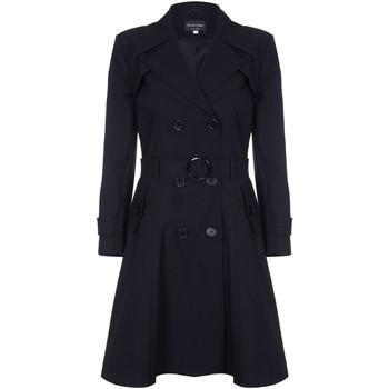 Kleidung Damen Mäntel De La Creme Spring Belted Trenchcoat Black