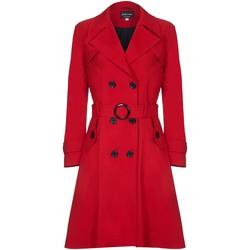 Kleidung Damen Trenchcoats De La Creme Spring Belted Trenchcoat Red