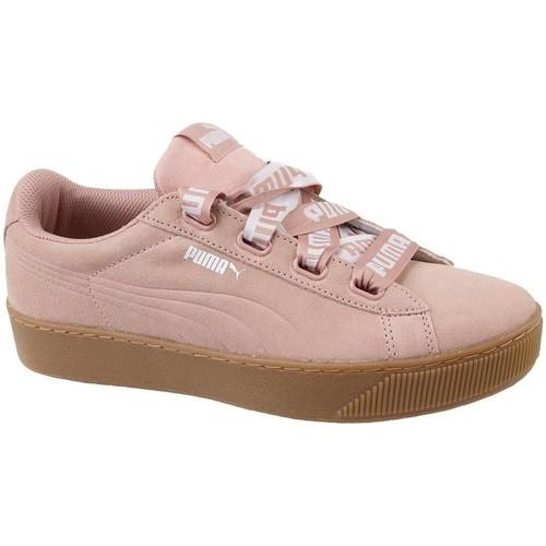 Schuhe Damen Sneaker Low Puma Vikky Platform Ribbon Bold Rosa