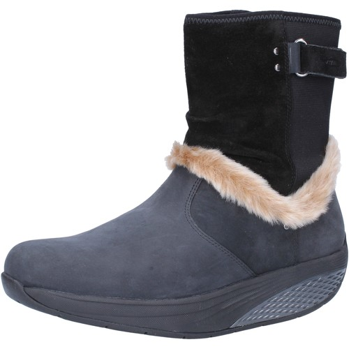 Schuhe Damen Low Boots Mbt stiefeletten schwarz nabuk Pelz AB217 schwarz