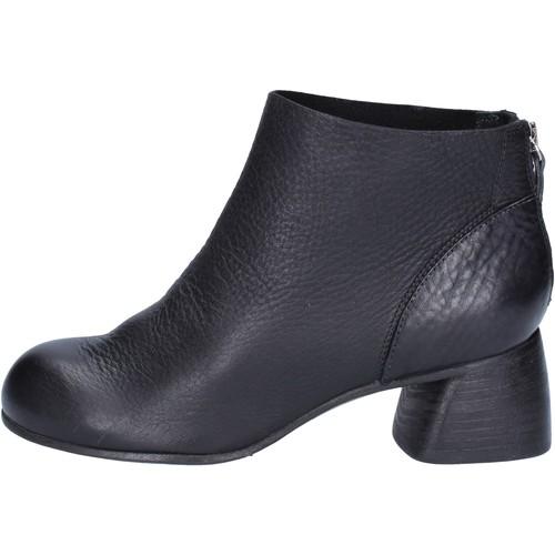 Schuhe Damen Low Boots Moma stiefeletten schwarz leder AB414 schwarz