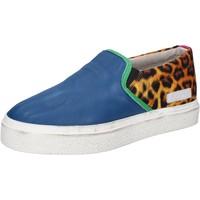Schuhe Damen Slip on Date schuhe damen D.A.T.E. (DATE) slip on blau leder textil AB540 blau