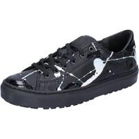 Schuhe Damen Sneaker Low Date D.A.T.E. sneakers schwarz leder lack AB561 schwarz