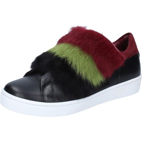 Schuhe Damen Sneaker Islo sneakers schwarz leder Pelz burgund BZ214 schwarz