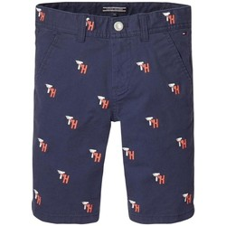 Kleidung Jungen Shorts / Bermudas Tommy Hilfiger TH EMBROIDERED CHINO SHORT Blau