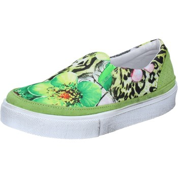 Schuhe Damen Slip on 2 Stars slip on grün textil wildleder BZ531 grün