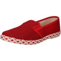 Schuhe Herren Slip on Caffenero CAFFEschwarz slip on rot segeltuch AE159 rot