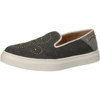 Schuhe Damen Slip on Braccialini slip on grau textil nieten AE545 grau