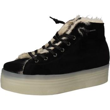 Schuhe Damen Sneaker 2 Stars sneakers schwarz velluto pelliccia AE614 schwarz