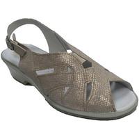 Schuhe Damen Sandalen / Sandaletten Made In Spain 1940 Sehr bequeme Frauensandale Lumel metalli Grau