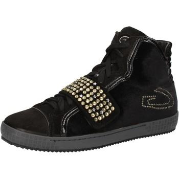 Schuhe Damen Sneaker High Guardiani sneakers schwarz velluto wildleder strass AE827 schwarz