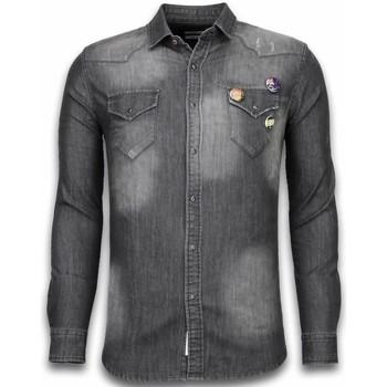 Kleidung Herren Langärmelige Hemden Bb Bread & Buttons Jeanshemd Slim Long Sleeve  Buttons Grau