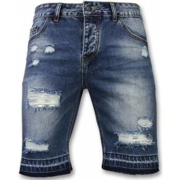 Kleidung Herren Shorts / Bermudas Enos Kurze Hosen Slim Ripped Shorts Blau