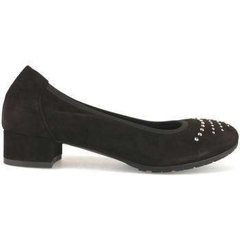 Schuhe Damen Ballerinas Calpierre pumps dunkelbraun wildleder swarovski AJ377 braun