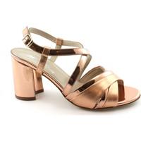 Schuhe Damen Sandalen / Sandaletten Melluso S529 lachs rosa Schuhe Frau Lederabsatz Sandalen Riemen Rosa