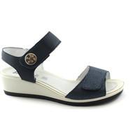 Schuhe Damen Sandalen / Sandaletten Enval SOFT 1281611 blaue Sandalen Frau Gummisohle flexible Reißversch Blu