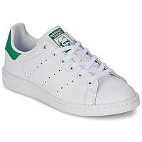 Schuhe Kinder Sneaker Low adidas Originals STAN SMITH J Weiss / Grün