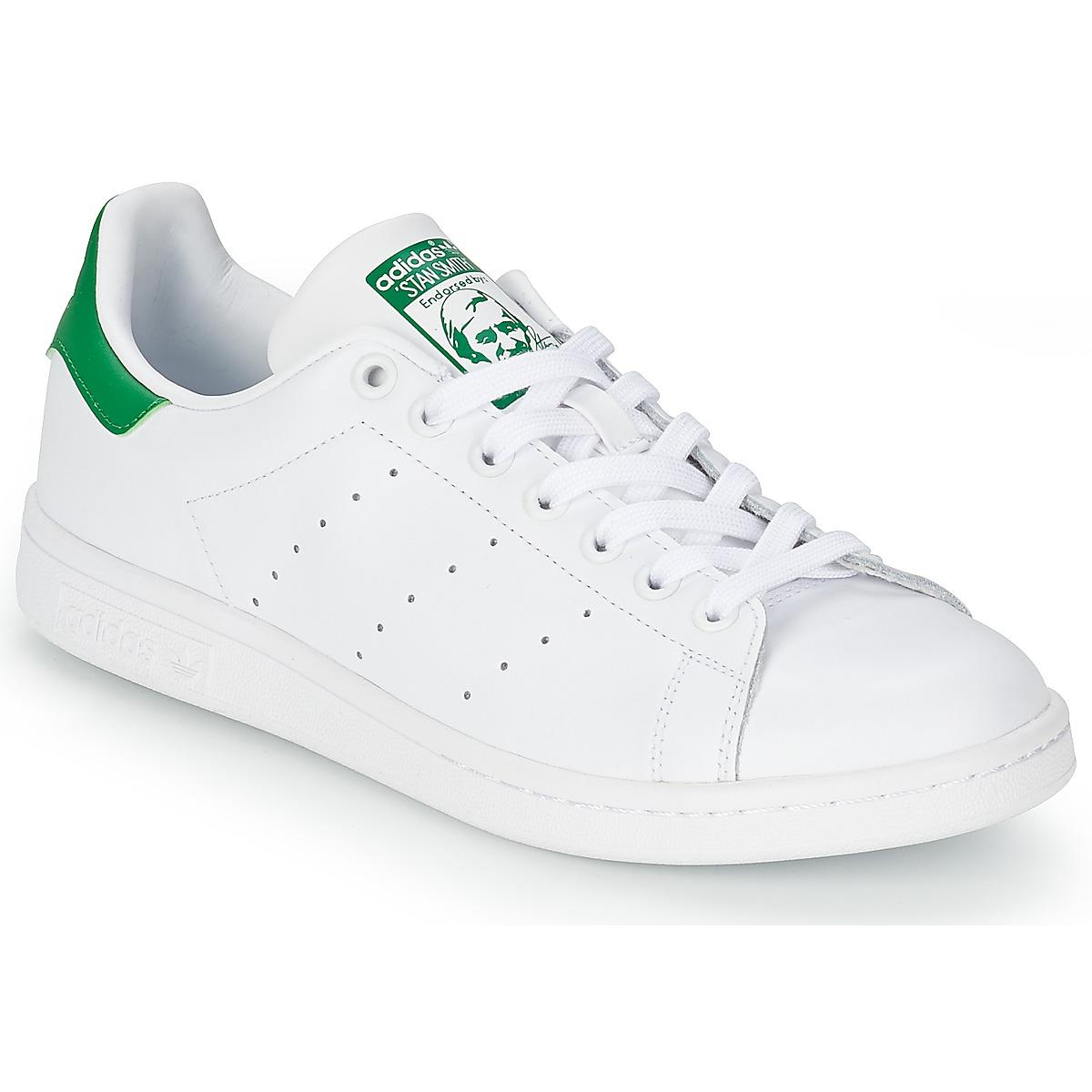 adidas Originals STAN SMITH Weiss / Grün - Kostenloser Versand bei Spartoode ! - Schuhe Sneaker Low  75,96 €