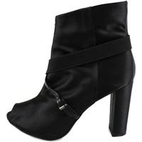 Schuhe Damen Low Boots Manas stiefeletten schwarz satin AH922 schwarz