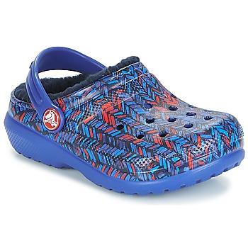 Schuhe Kinder Pantoletten / Clogs Crocs CLASSIC LINED GRAPHIC CLOG K Blau