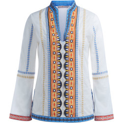 Kleidung Damen Pullover Tory Burch Tunica  Stephanie in cotone bianco con ricami Weiss