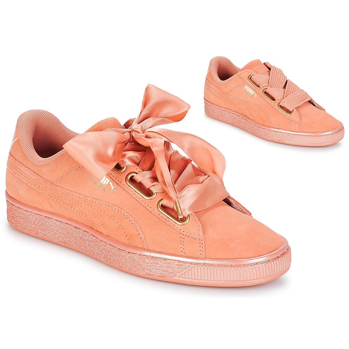 Puma WN SUEDE HEART SATINDUSTY Orange - Kostenloser Versand bei Spartoode ! - Schuhe Sneaker Low Damen 89,99 €