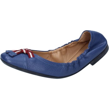 Schuhe Damen Ballerinas Bally Shoes ballerinas blau leder textil BY23 blau