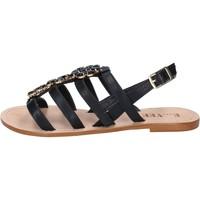 Schuhe Damen Sandalen / Sandaletten E...vee schuhe damen  sandalen schwarz leder BY184 schwarz