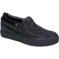 Schuhe Damen Slip on Sara Lopez slip on schwarz textil strass BY240 schwarz