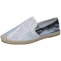 Schuhe Damen Slipper Sara Lopez espadrilles silber textil strass BY241 silber