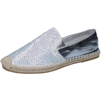 Schuhe Damen Slipper Sara Lopez schuhe damen  espadrilles silber textil strass BY241 silber
