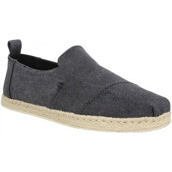 Schuhe Herren Leinen-Pantoletten mit gefloch Toms 111096 Schwarz