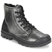 Schuhe Damen Boots Palladium PAMPA HI Schwarz / Silbern