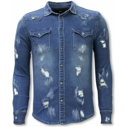 Kleidung Herren Langärmelige Hemden True Rise Jeanshemd Slim Damaged Allover Blau